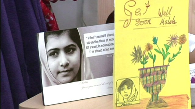 Malala Yousafzai&#039;s photo and a wellwisher&#039;s card 