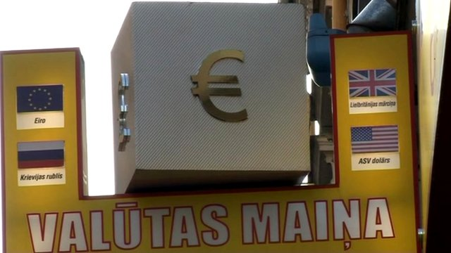 A euro sign in Latvia