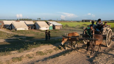 Tents housing displaced families in Rakhine