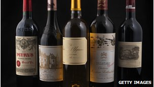 Bottles of French Grand Cru wine, including Chateau Lafite Rothschild