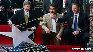 Javier Bardem looks on as his star on the Hollywood Walk of Fame is unveiled