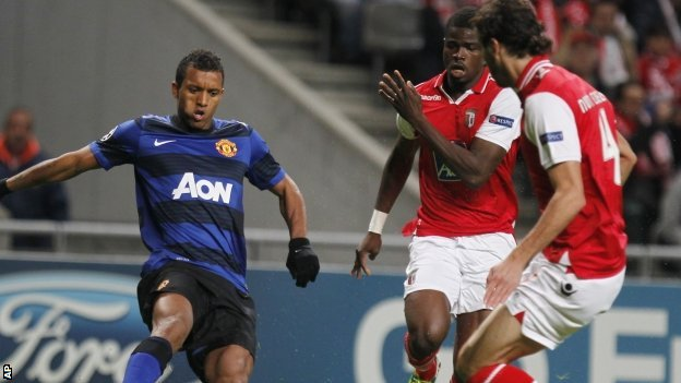 Nani (left) playing for Manchester United against Braga
