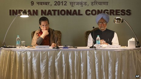 "Congress party president Sonia Gandhi, left, with Indian Prime Minister Manmohan Singh at ""Samvad Baithak"" or Dialogue Meeting with Congress top leaders in Surajkund on the outskirts of New Delhi, India, Friday, Nov. 9, 2012."