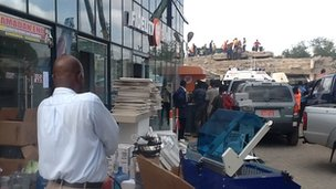 Bank employees moving property out of the Fidelity Bank