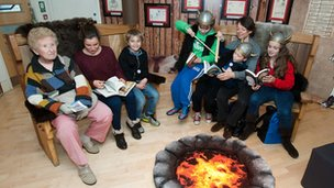 Families reading at the centre