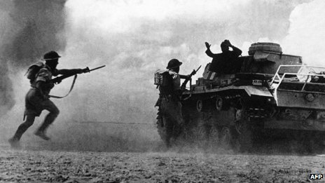 British troops capturing German tank, North Africa, circa 1942