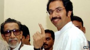 Bal Thackeray with son Uddhav