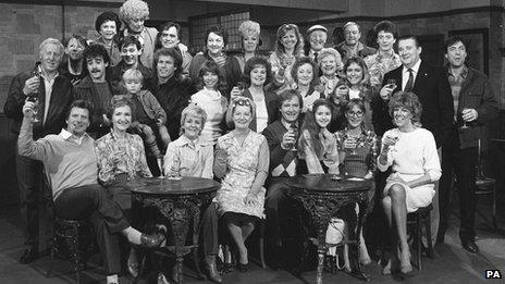 Coronation Street cast members celebrate its Silver Jubilee