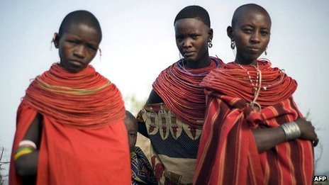 Young women from Kenya&#039;s Samburu ethnic group which has the tradition of bride prices to seal marriages
