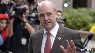 Swedish Prime Minister Fredrik Reinfeldt in Brussels in October 2012