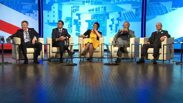 Willie Rennie MSP, Anas Sarwar MP, Angela Constance MSP, Tom Devine and Patrick Harvie MSP