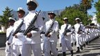 Marching soldiers in ceremonial dress in Cape Town, South Africa - Tuesday 6 November 2012
