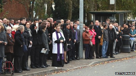 Mourners pay their final respects to Karina Menzies in Ely, Cardiff