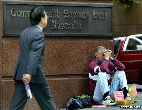 Homeless man outside an Australian bank