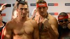 Boxing world champion Wladimir Klitschko (left) and challenger Polish Mariusz Wach pose