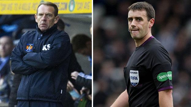 Kilmarnock boss Kenny Shiels & referee Euan Norris