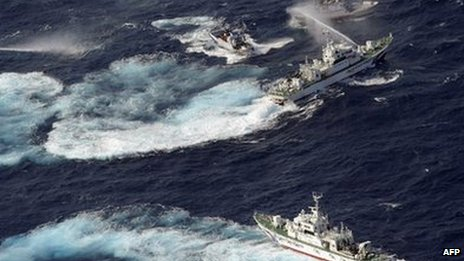 Coastguard vessels from Japan and Taiwan duel with water cannons in waters around the islands