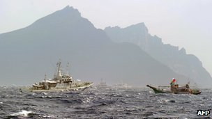 Coastguard vessels from Japan and Taiwan in waters around the islands 