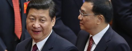 Xi Jinping (L) and Li Keqiang at the opening session of the 18th Communist Party Congress held at the Great Hall of the People on November 8