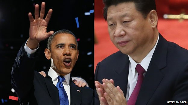 Barack Obama (L) and  Xi Jinping (R)