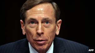 """CIA Director David Petraeus, testifies before the US Senate Intelligence Committee during a full committee hearing on """"World Wide Threats."""" in this 31 January 2012"""