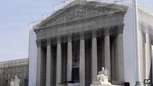 Supreme Court building in Washington 27 September 2012, with a protective scrim