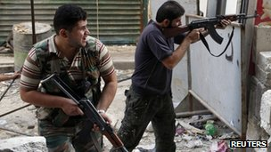 Members of the Free Syrian Army fighting in Aleppo