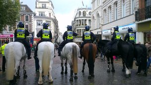 Police horses on Gentlemens Walk