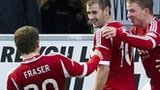 Niall McGinn (centre) was on target for Aberdeen in Paisley
