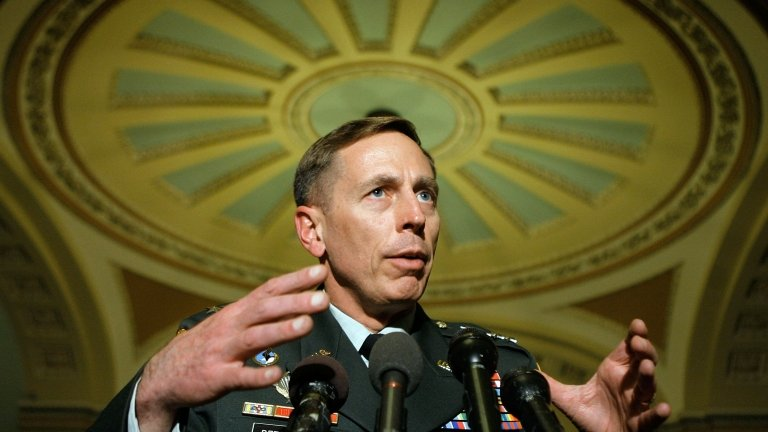 U.S. Army Gen. David Petraeus, commander of the Multinational Force in Iraq, speaks after briefing lawmakers on Capitol Hill April 25, 2007 in Washington,
