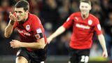Mark Hudson celebrates after scoring Cardiff's second goal