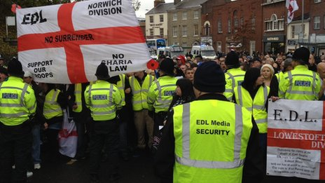 EDL supporters at the start of their march