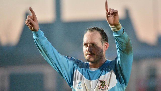 James Costello celebrates his winning goal for Ballymena United against Crusaders