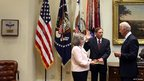 Vice-President Joseph Biden swears in David Petraeus to be Director of the Central Intelligence Agency, 6 September 2011