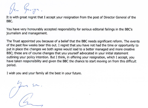 Lord Patten's letter to George Entwistle