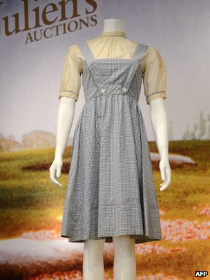 Judy Garland&#039;s dress in the Wizard of Oz at Julien&#039;s Auctions in Beverly Hills on 7/11/12