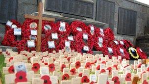 Poppy wreaths in Guernsey