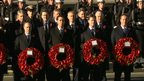 Past and present political leaders holding wreaths