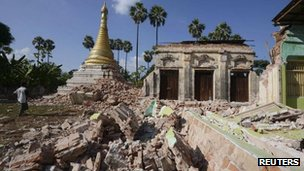 A damaged Buddhist pagoda in Ma Lar, Kyauk Myaung township