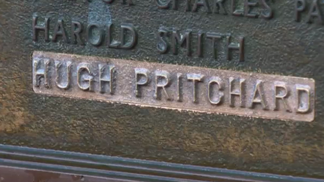Hugh Pritchard's name on the Caernarfon cenotaph