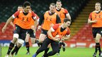 The Wales rugby squad are put through their final paces ahead of the opening match of the autumn Test series against Argentina at the Millennium Stadium.