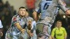 Blues hooker Rhys Williams sends out a pass