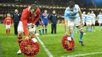 Captains Sam Warburton and Juan Martin Fernandez Lobbe lay wreaths ahead of Remembrance Day prior to kick-off in the Wales v Argentina Test match