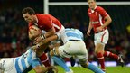 Wales wing George North is tackled by Argentina flanker Leonardo Senatore as the autumn Test series get underway at the Millennium Stadium.