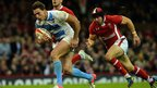 Argentina wing Juan Imhoff scores his side's opening try during the second half at the Millennium Stadium
