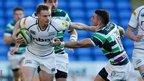 Wales scrum-half Dwayne Peel scores a try as Sale take on Northampton inthe LV= Cup