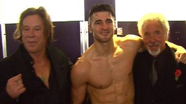 Mickey Rourke (left) and Sir Tom Jones (right) celebrate with Nathan Cleverly
