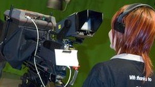 Girl taking part in a TV workshop