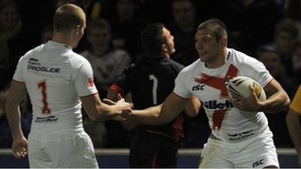 Ryan Hall (right) celebrates with England team-mate Sam Tomkins