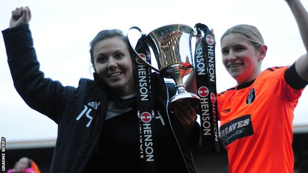 Rachel Corsie and Leanne Ross with the Scottish Cup